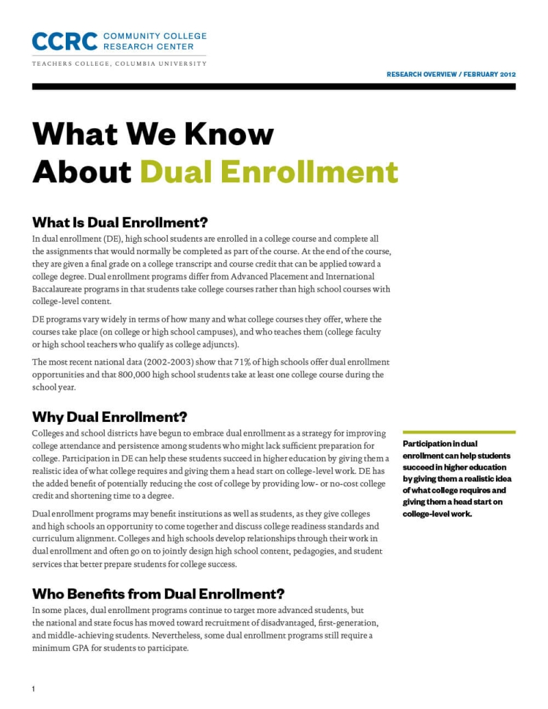 What We Know About Dual Enrollment