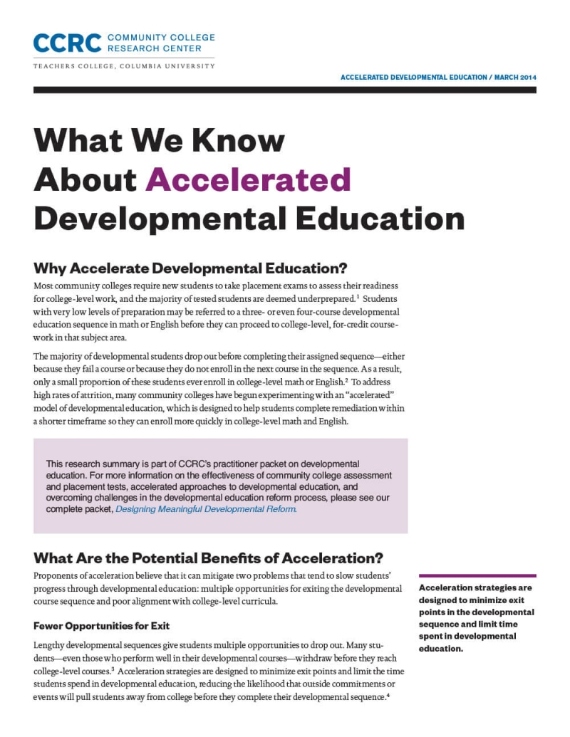What We Know About Accelerated Developmental Education