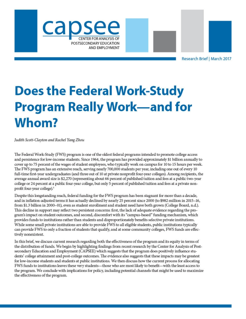 Does the Federal Work-Study Program Really Work—and for Whom?
