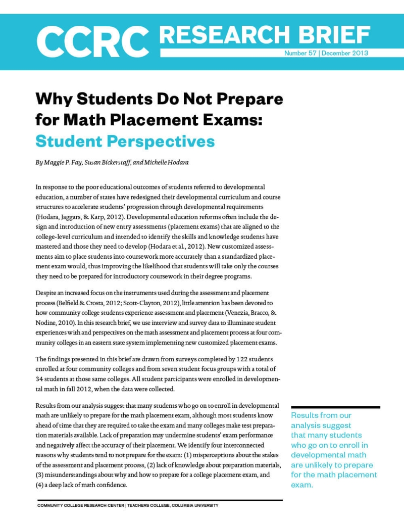 Why Students Do Not Prepare for Math Placement Exams: Student Perspectives