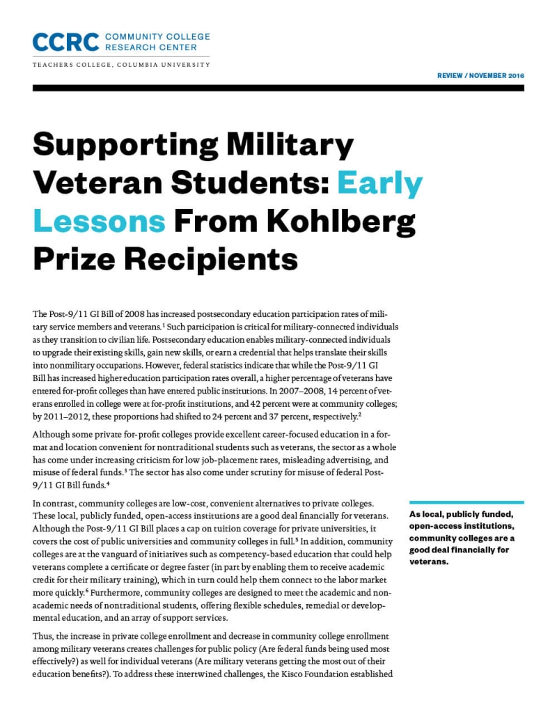 Supporting Military Veteran Students: Early Lessons From Kohlberg Prize Recipients