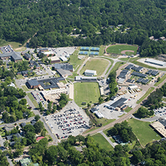 Aerial view of a community college