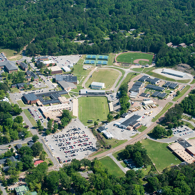 Aerial view of a community college campus