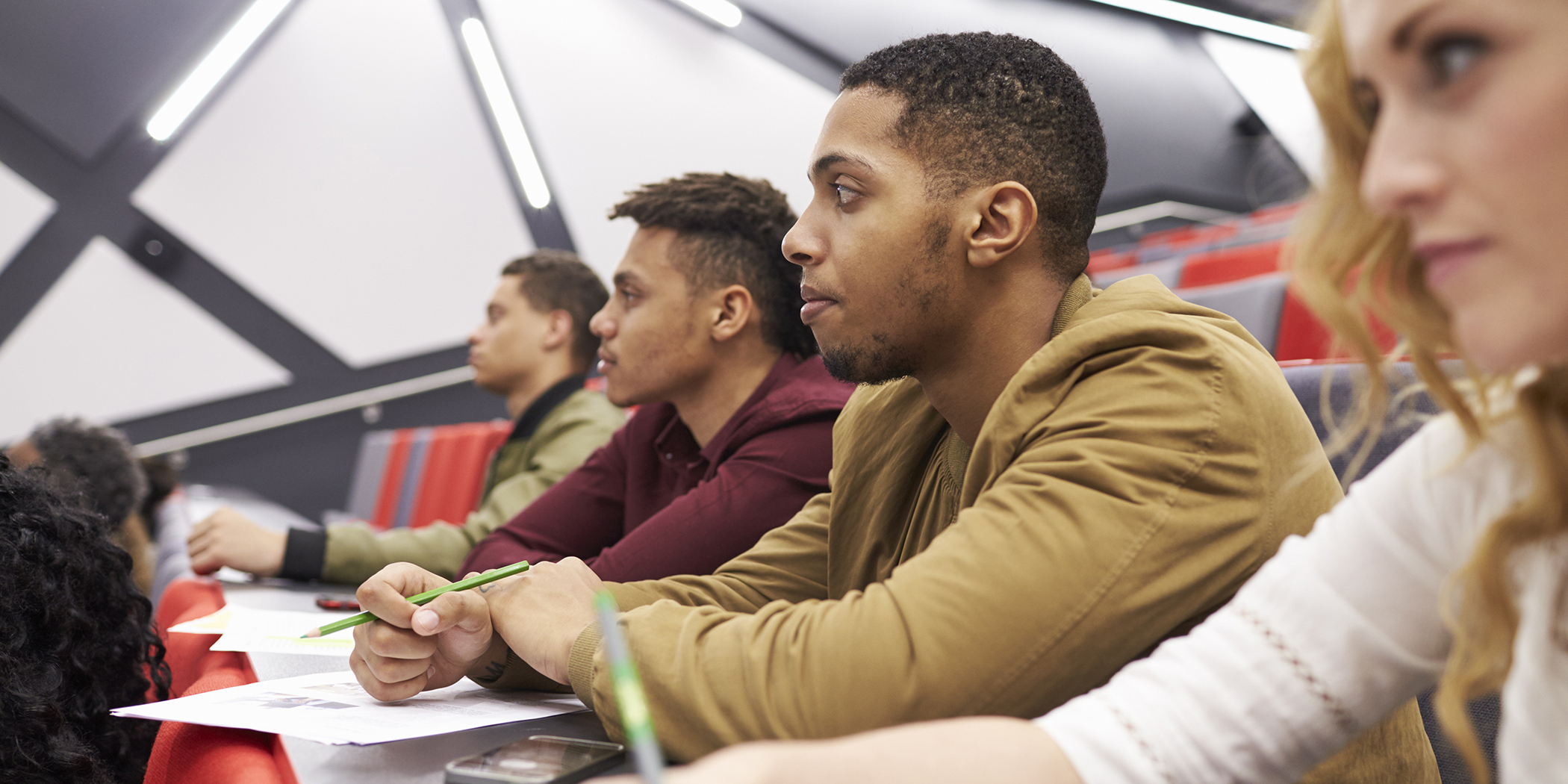 Students in a college lecture hall