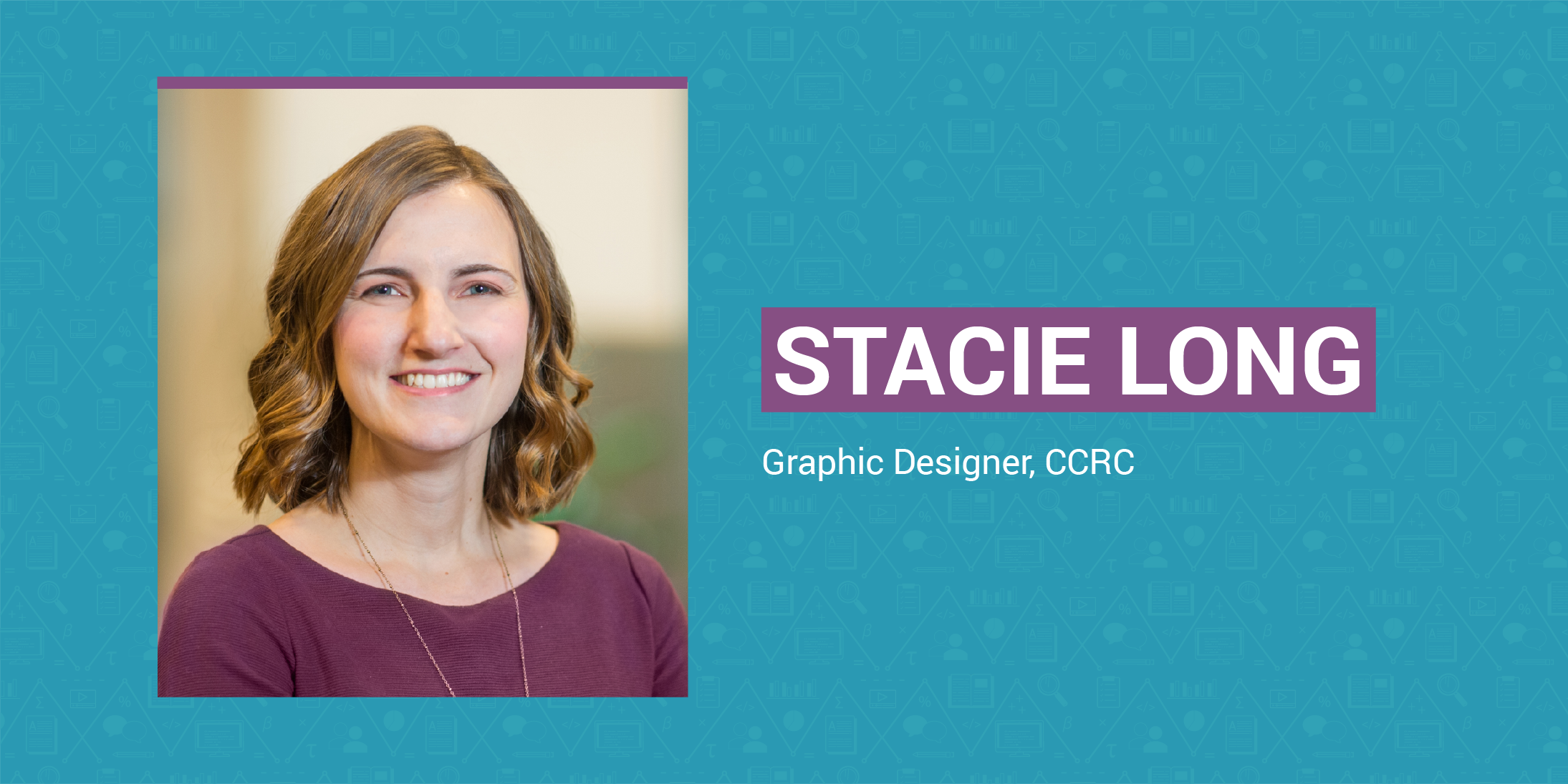 Stacie Long's headshot on a blue and purple background