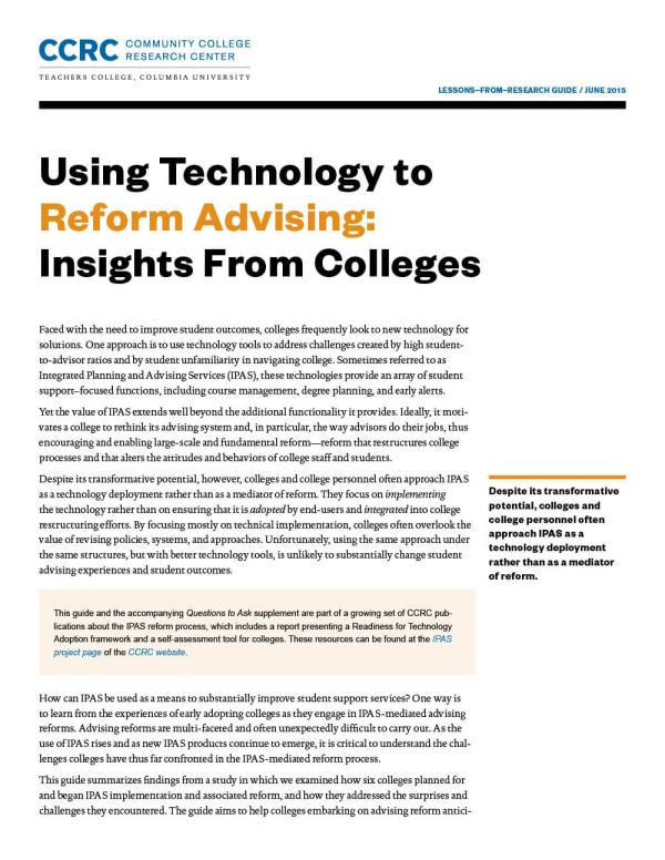 Using Technology to Reform Advising: Insights From Colleges
