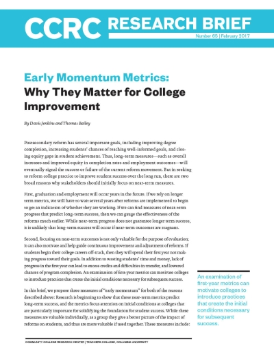 Early Momentum Metrics: Why They Matter for College Improvement
