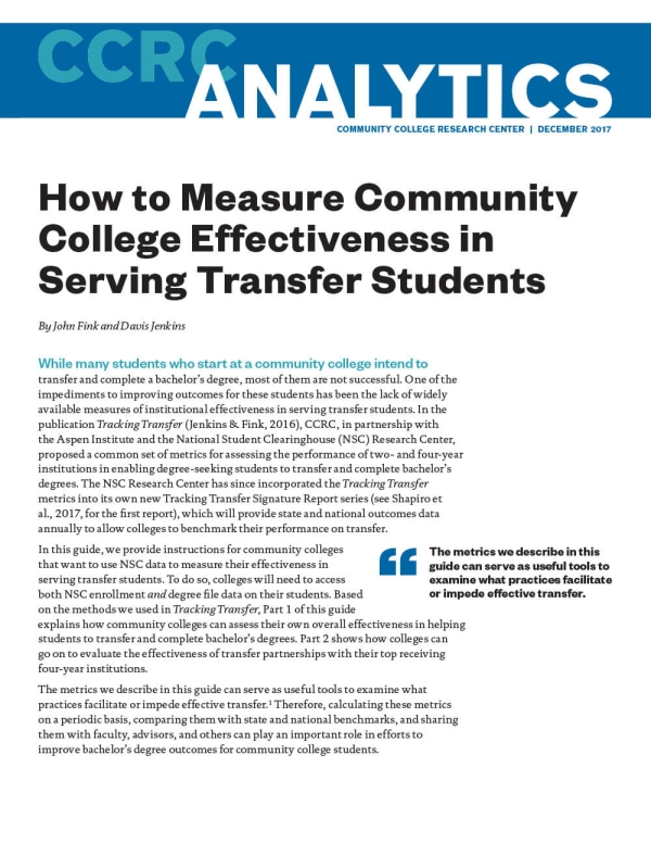 How to Measure Community College Effectiveness in Serving Transfer Students