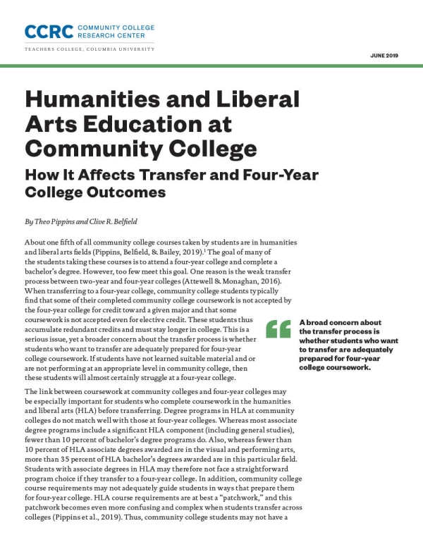 Humanities and Liberal Arts Education at Community College: How It Affects Transfer and Four-Year College Outcomes