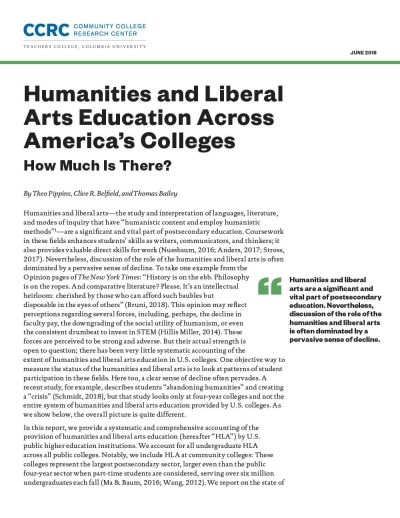 Humanities and Liberal Arts Education Across America's Colleges: How Much Is There?