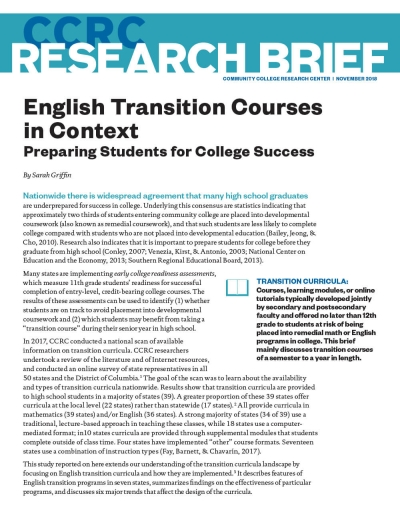English Transition Courses in Context: Preparing Students for College Success