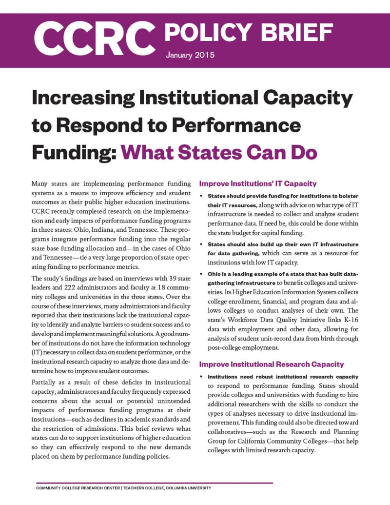 Increasing Institutional Capacity to Respond to Performance Funding: What States Can Do