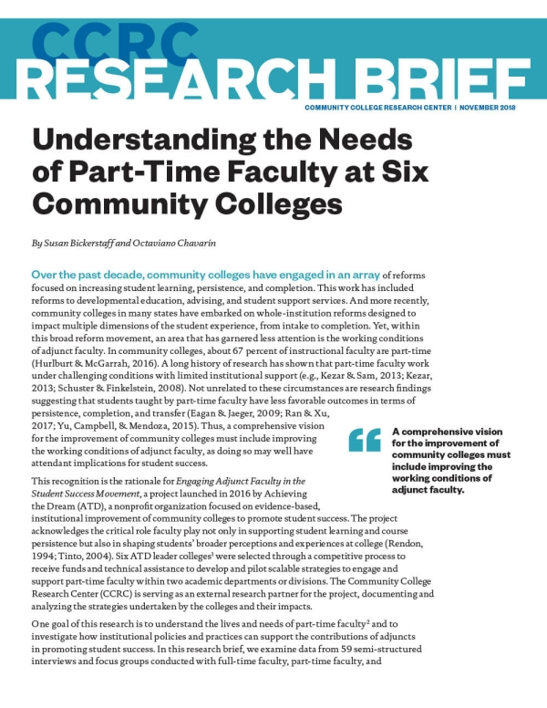 Understanding the Needs of Part-Time Faculty at Six Community Colleges