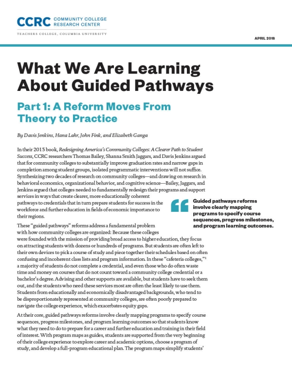 What We Are Learning About Guided Pathways