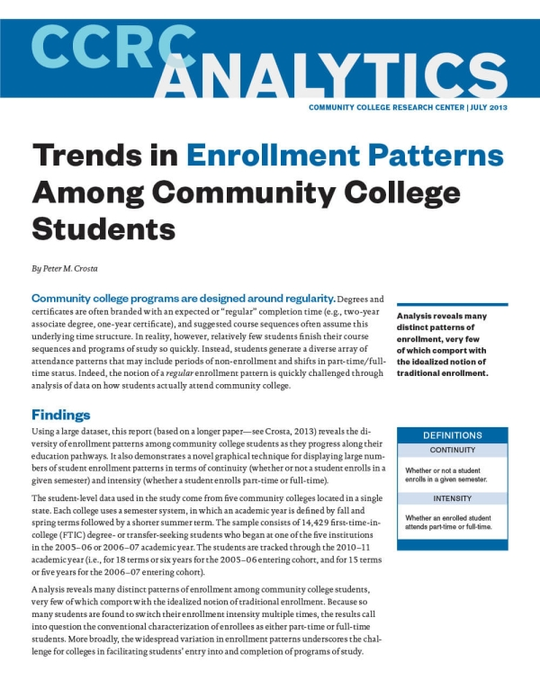 Trends in Enrollment Patterns Among Community College Students