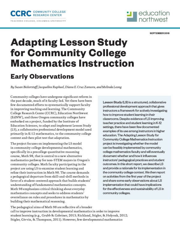 Adapting Lesson Study for Community College Mathematics Instruction: Early Observations