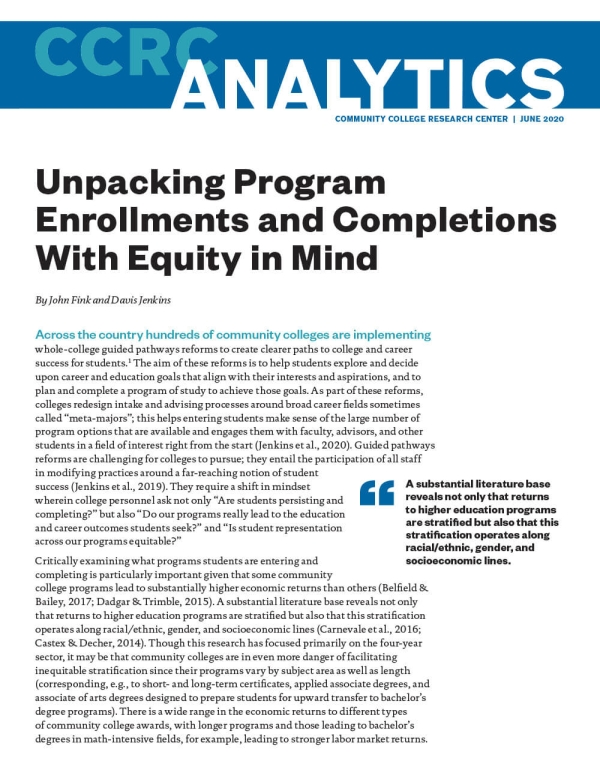 Unpacking Program Enrollments and Completions With Equity in Mind