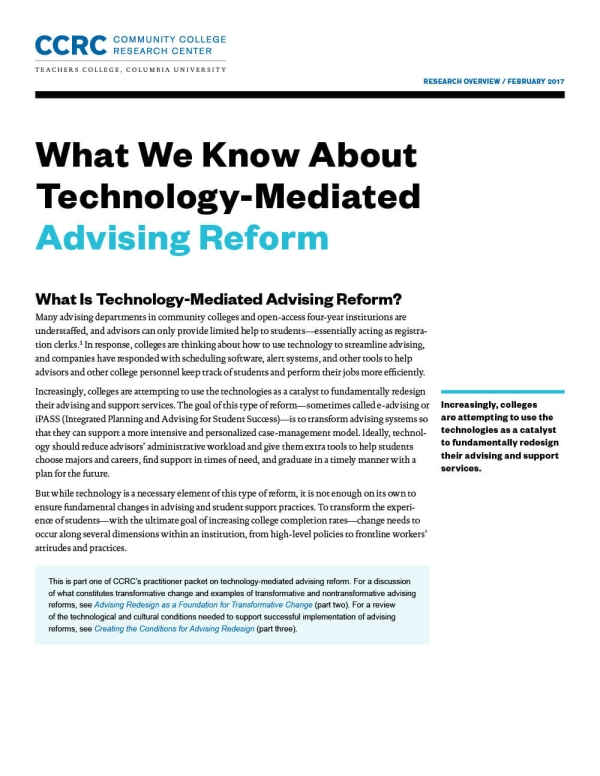 What We Know About Technology-Mediated Advising Reform