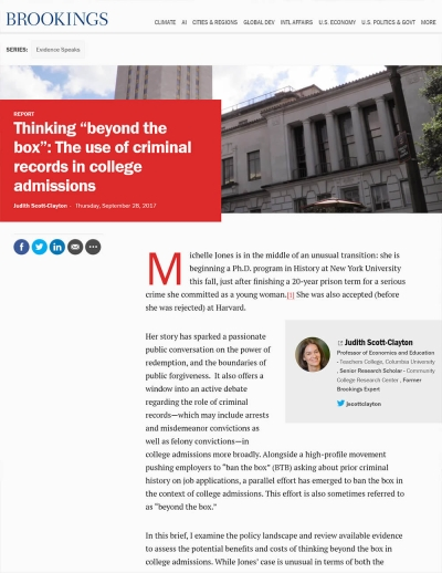 "Thinking ""Beyond the Box"": The Use of Criminal Records in College Admissions"