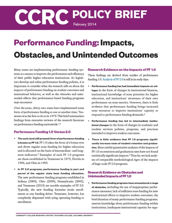 Performance Funding: Impacts, Obstacles, and Unintended Outcomes