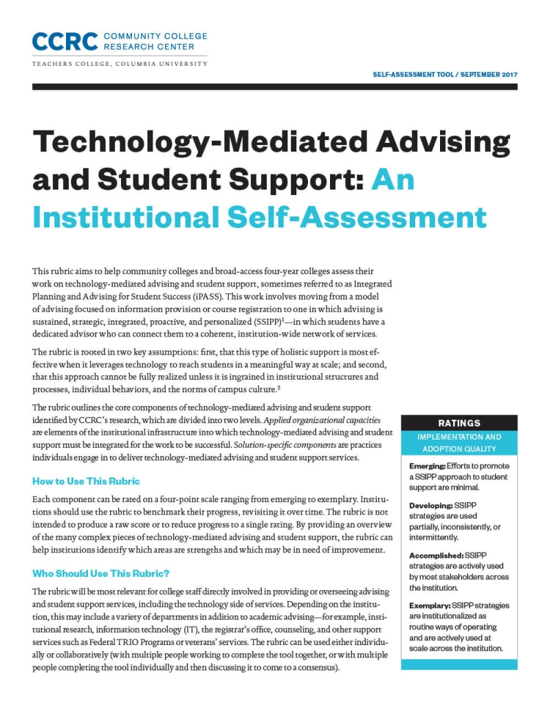 Redesigning Advising and Student Support: Tools for Practitioners