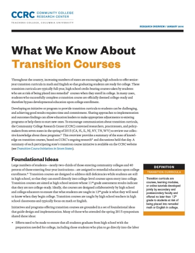 What We Know About Transition Courses