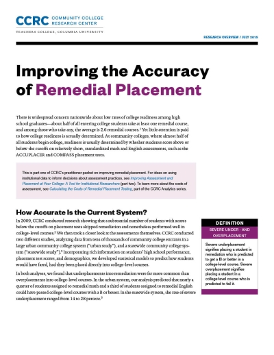 Improving the Accuracy of Remedial Placement