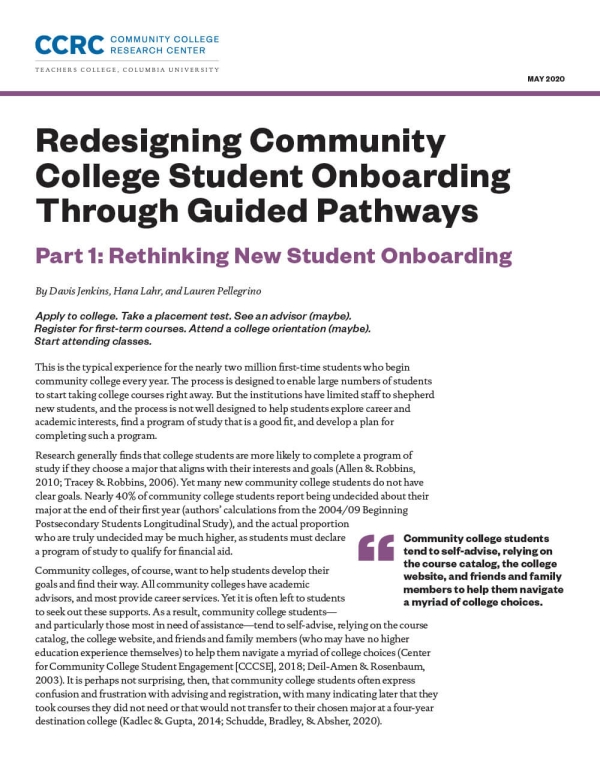 Redesigning Community College Student Onboarding Through Guided Pathways