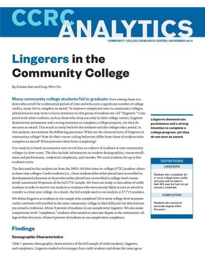Lingerers in the Community College