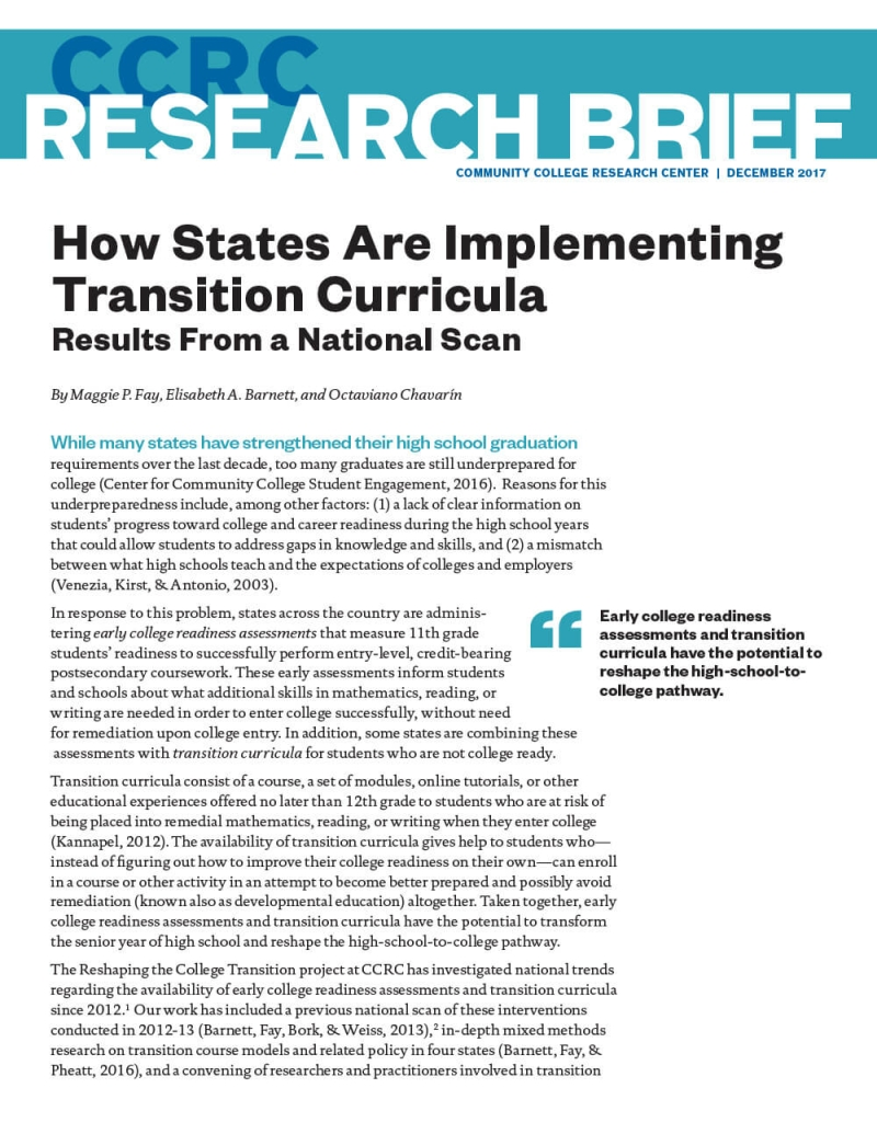 How States Are Implementing Transition Curricula: Results From a National Scan