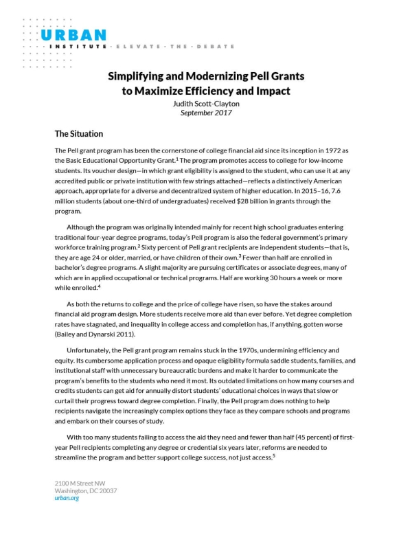 Simplifying and Modernizing Pell Grants to Maximize Efficiency and Impact
