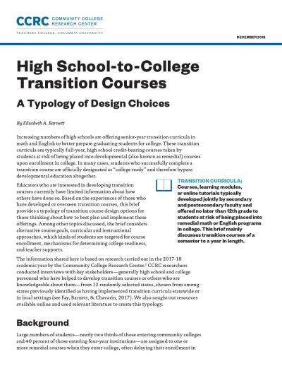 High School-to-College Transition Courses: A Typology of Design Choices