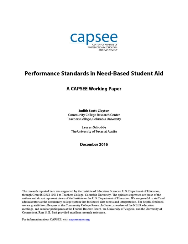 Performance Standards in Need-Based Student Aid
