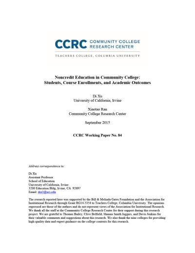 Noncredit Education in Community College: Students, Course Enrollments, and Academic Outcomes