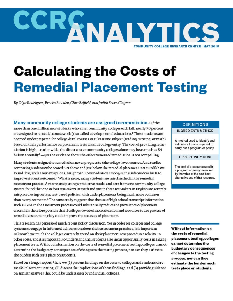 Calculating the Costs of Remedial Placement Testing
