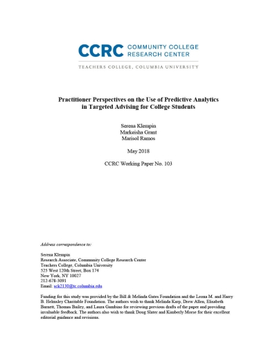 Practitioner Perspectives on the Use of Predictive Analytics in Targeted Advising for College Students