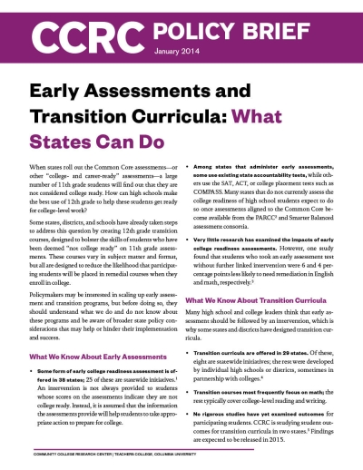 Early Assessments and Transition Curricula: What States Can Do