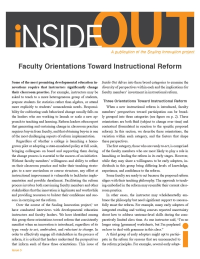 Faculty Orientations Toward Instructional Reform