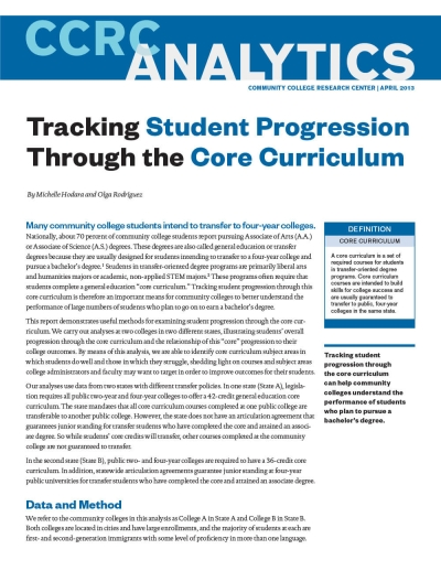 Tracking Student Progression Through the Core Curriculum