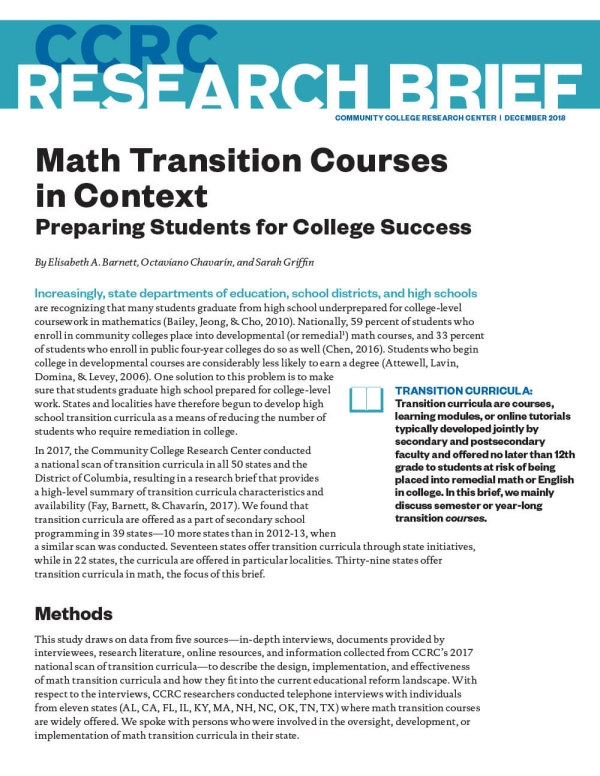 Math Transition Courses in Context: Preparing Students for College Success