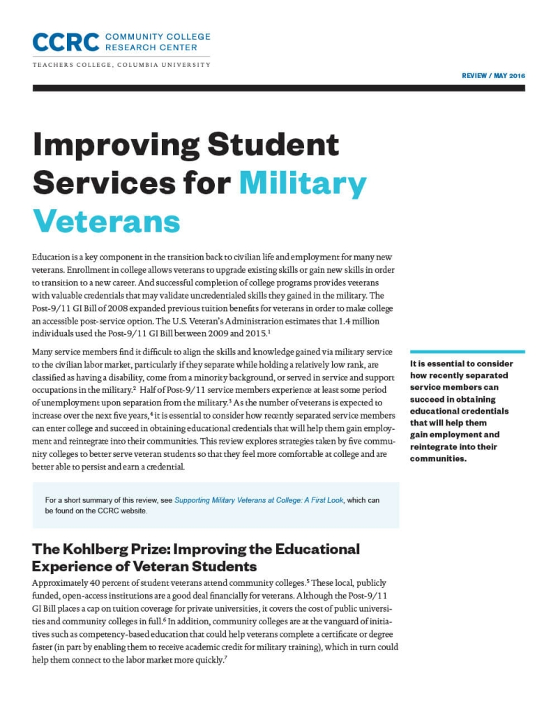 Improving Student Services for Military Veterans