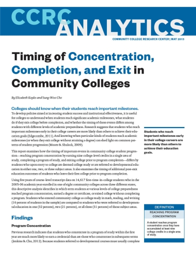 Timing of Concentration, Completion, and Exit in Community Colleges