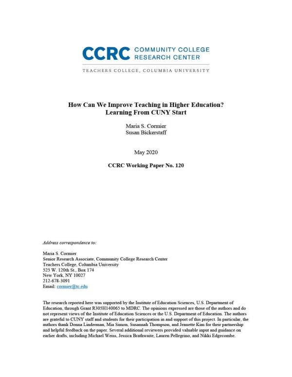 How Can We Improve Teaching in Higher Education? Learning From CUNY Start
