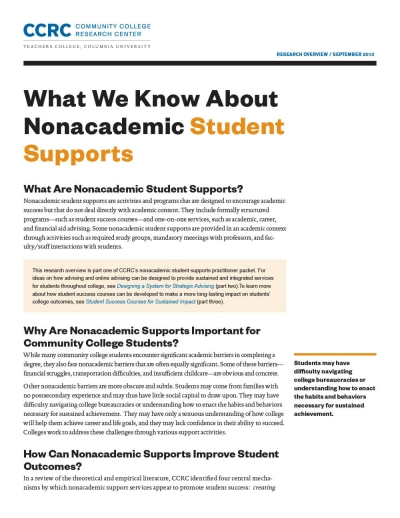 What We Know About Nonacademic Student Supports