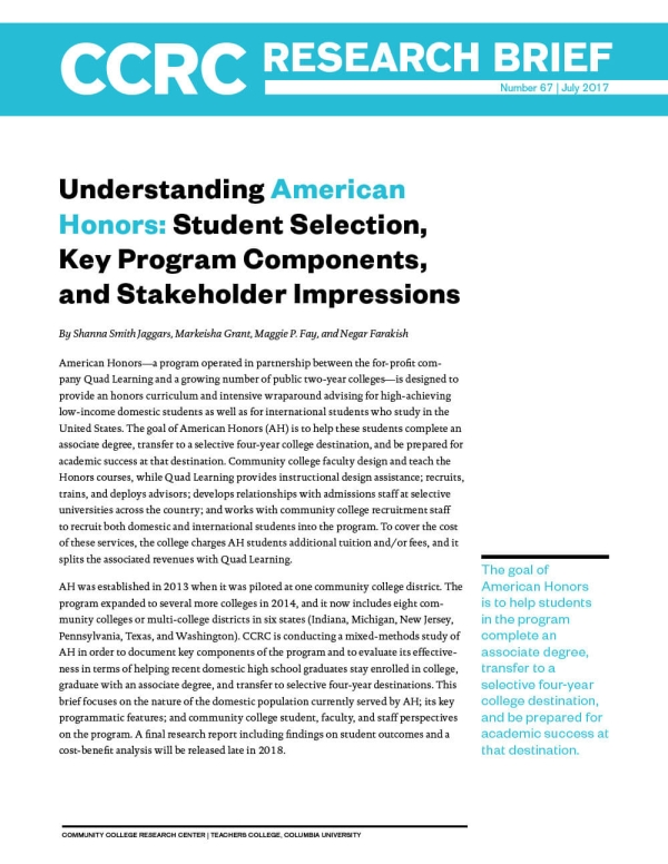 Understanding American Honors: Student Selection, Key Program Components, and Stakeholder Impressions