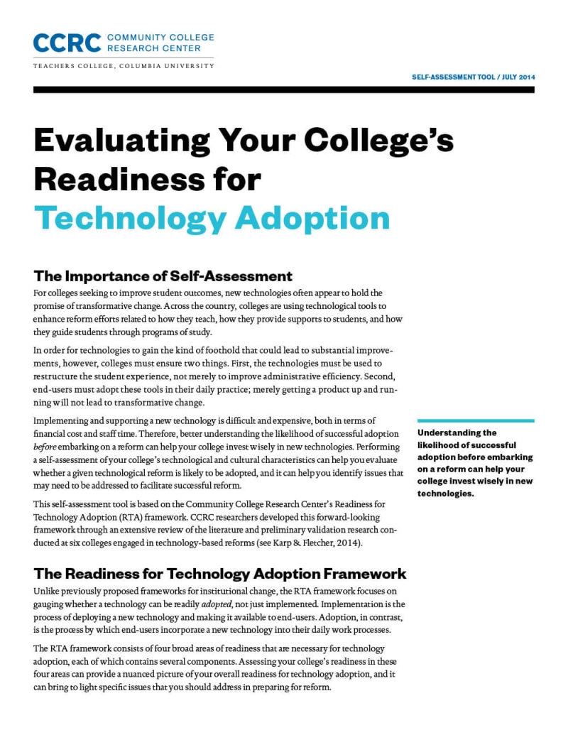 Evaluating Your College's Readiness for Technology Adoption