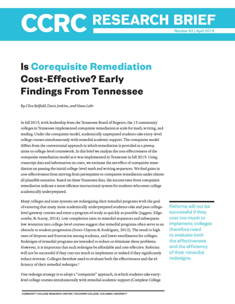 Is Corequisite Remediation Cost-Effective? Early Findings From Tennessee