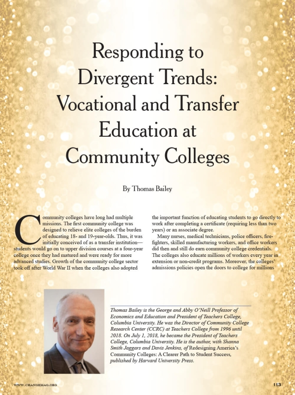 Responding to Divergent Trends: Vocational and Transfer Education at Community Colleges