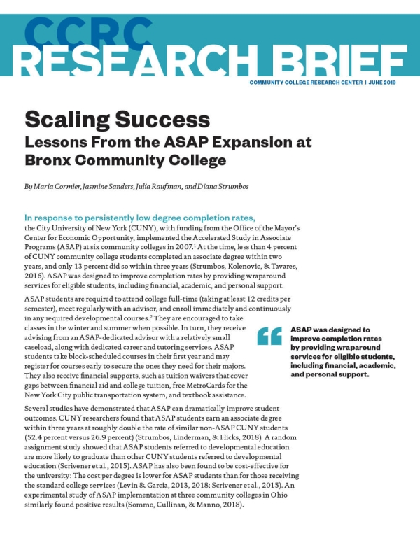 Scaling Success: Lessons From the ASAP Expansion at Bronx Community College